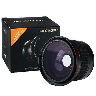 K&F Concept 58MM 0.35x Wide Angle Fisheye w/ Macro Lens FULL HD MC for Canon EOS