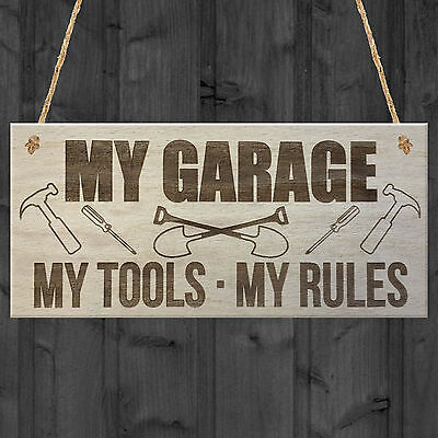 My Garage My Tools My Rules Man Cave Shed Hanging Plaque Father's Day Sign Gift