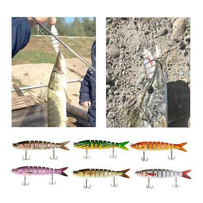 Lifelike 8 Jointed Sections Fishing Trout Swimbait Lure Hard Bait Fish Hook C3H3