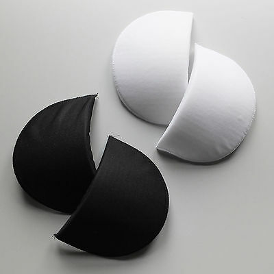 Pair covered foam pre-formed shoulder pads, black or white, small medium large