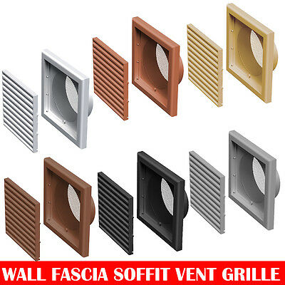 "Plastic Extractor Fan Wall Louvre Grill Grille Ventilation 4"" , 5"" , 6"" , 110x54"