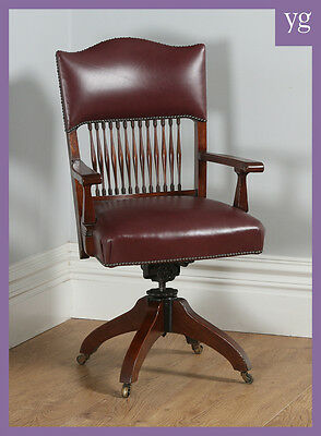 Antique English Edwardian Oak & Red Leather Revolving Office Desk Armchair