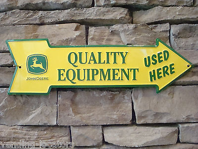 John Deere Tractor Road Sign Arrow Quality Farm Equipment Used Here 3 Leg Mower