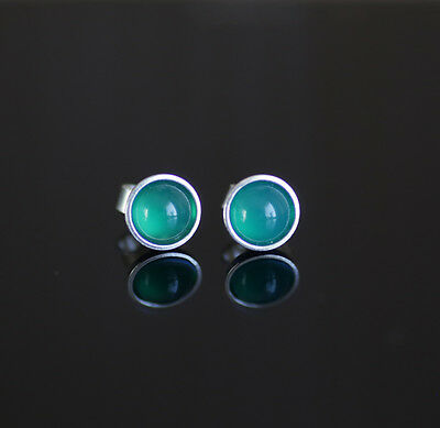 925 Sterling silver stud earrings with 6mm natural Green Onyx gemstones