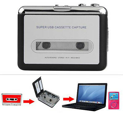 ABS USB Audio Cassette Tape Converter to MP3 CD Player PC w/Earphone/data cable