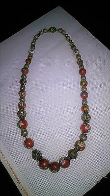 antique cloisonne and silver bead neckless