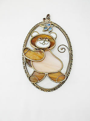 """Vintage Stained Glass 3D Bear-Brown/Pink/White/Blue-Hand Crafted-4.5 X 7"""""""
