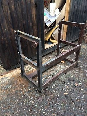 Vintage Iron Industrial Metal Table  legs salvage steam punk - as found