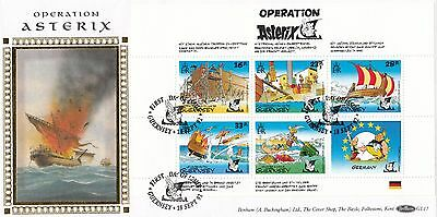 (00605) GB Guernsey Benham FDC Operation Asterix booklet pane 1992 331 of 500