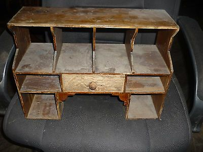 """ANTIQUE PIGEON HOLE CUBBY, holes, DRAWERS, MAIL,   DESK TOP 16x11"""""""