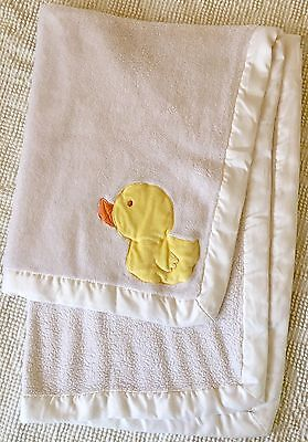 Carters Yellow Duck Ducky Fleece White Blanket With Soft Satin Trim