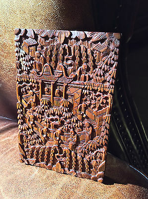 Chinese Antique 19th C Fragrant Carved Sandalwood Canton Card Case