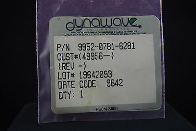 One NOS NIB Dynawave SMA Panel Type RF Microwave Connector