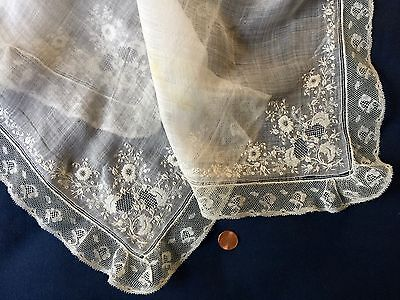 Extraordinary 19h C. Large Embroidered White Lace Handkerchief COLLECTOR
