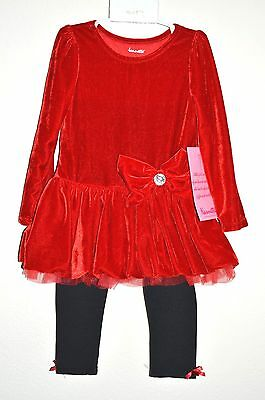 NWT Nannette 2 Piece Set Long Sleeves RED Little Girls Size 4T