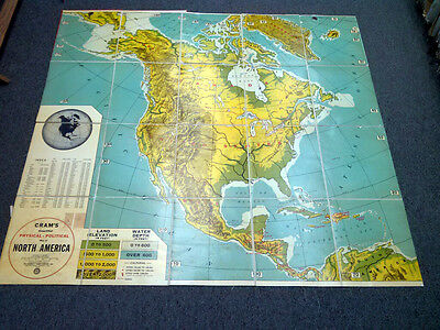 Cram's Simplified Political - Physical Foldable Map of North America