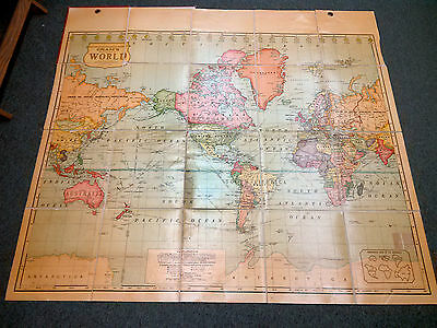 Cram's Simplified Political - Physical Foldable Map of the World Mid 20th Cent.