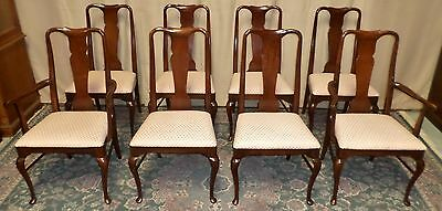 THOMASVILLE DINING CHAIRS Cherry Queen Anne Style Set of 8 VINTAGE