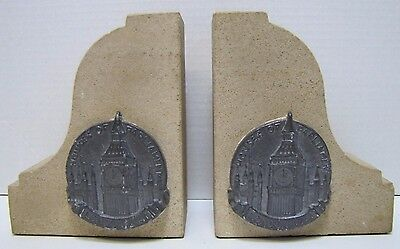 Old HOUSES OF PARLIAMENT LONDON 1941 Stone Bookends fr orig building WW2 Bombing