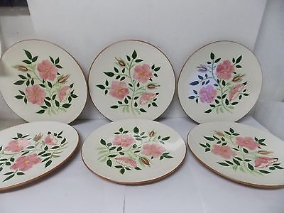 Stangl Art Pottery Wild Rose Dinner Plates, Set of 6