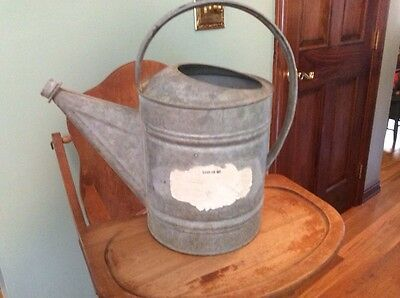 Large Vintage # 10 Galvanized Garden Plant Watering Can