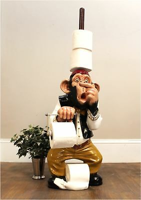 Monkey Butler Toilet Paper Holder Nose 3' STATUE Funny Ape Plunger on Head