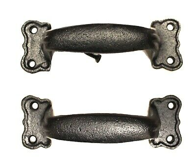 Old Antique Style Cast Iron Trunk Cabinet Pull Pair Heavy Hardware