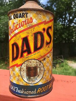 Vintage 32oz DAD's root beer Cone Top soda pop can Full Quart