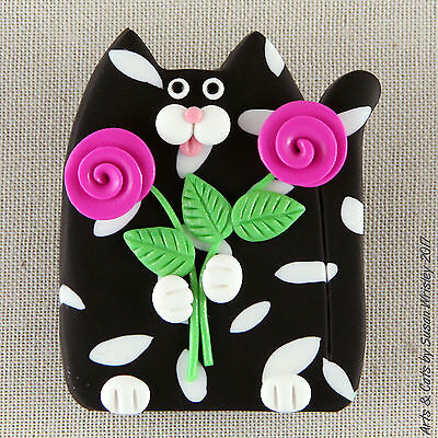 Black White Spotted Kitty Cat & Pink Roses Pin - SWris