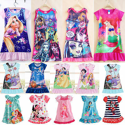Kids Girl Cartoon Summer Dress Princess Party Casual Pajama Nightdress Sleepwear