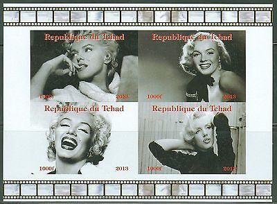 Chad 2013  Marilyn  Monroe  Sheet Of Four Imperfforated  Ii  Mint Nh