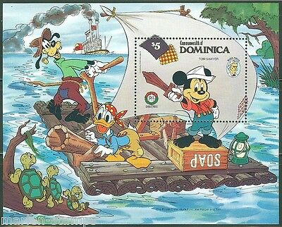 Birth Anniv Mark Twain Sg967-971 Mnh 1985 Disney Dominica