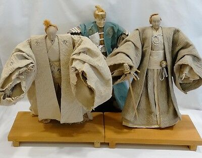 3 Vintage Japanese Handcrafted Hand Pulped Abaca and Rice Straw Paper Dolls