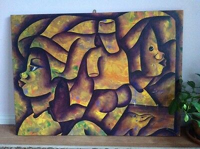 Large African Hand Painted Acrylic on Canvas Painting Signed