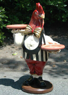 2' Rooster Butler Waiter Statue w Trays Gold Leaf Tie Pub or Bar