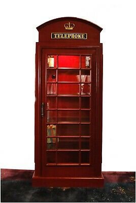 English British REPLICA Telephone Booth Red Shelf Antique Style
