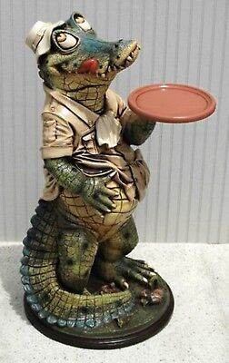 Alligator Butler Waiter Statue 2ft Restaurant Kitchen Crocodile Serving Bar