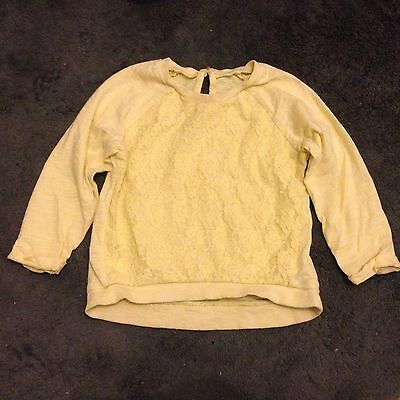 #32 Lemon Yellow Long Sleeve Top With Lace Front 12-18 Months