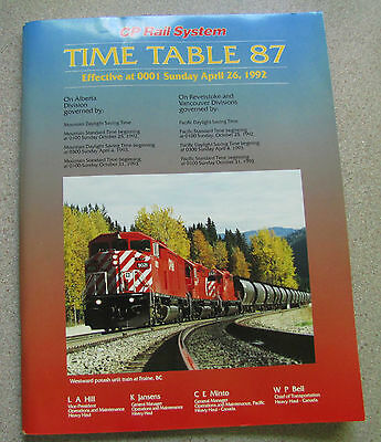 CP Rail employee timetables  Set of 7.  1980 - 1992