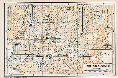 Indianapolis IN 1909 small orig. city map + guide (2 p.) Miller pl. Deaf & Dumb