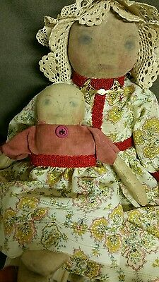 Primitive folk art early cloth doll w/dolly