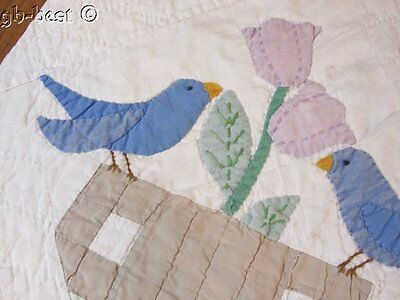 Cottage c 1930s Blue Birds & URNS Tulips Applique Vintage QUILT pc Study