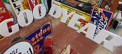 Vintage Original Goodyear Porcelain Letters Building Sign Gas Oil Garage