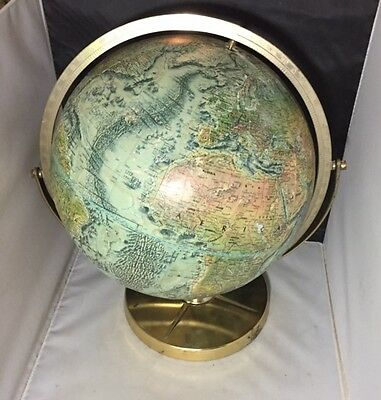 "Vintage Replogle World Ocean Series 12"" Relief Globe w/ Metal Dual Axis"
