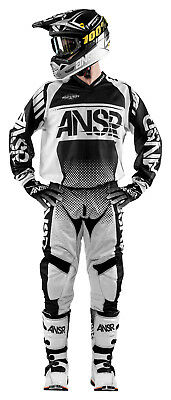 Answer Syncron Air Black/White Jersey & Pant Combo Set MX A17.5 Off Road Gear