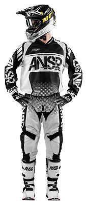 Answer Syncron Black/White Jersey & Pant Combo Set Motocross A17 Off Road Gear
