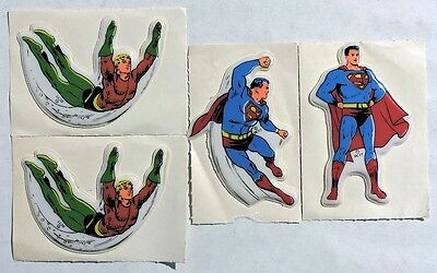 S638. VINTAGE: Lot of 4: AQUAMAN & SUPERMAN 3-Dimensional Stickers (1977)