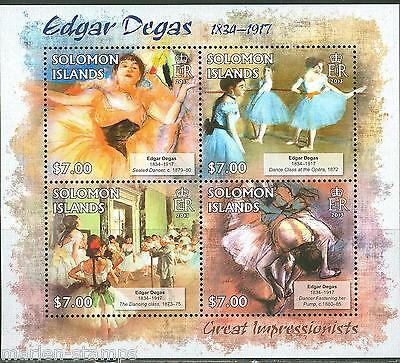 Solomon Islands Great Impressionists Edgar Degas Sheet Mint Nh