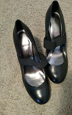 Womens Kristin Davis Black Leather Heels w/Elastic Strap Shoes Sz 9M