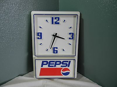 "Vintage PEPSI COLA Wall Clock - works great. 18"" x 12"" x 2"". EUC"